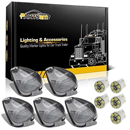 Partsam 5X Cab Marker Roof Running Light Smoke Covers Lens + 5X T10 White LED Light Bulbs Replacement for 1999-2016 Ford F150 F250 F350 F450 F550 E150 E250 E350 E450 2017-2018 E350 E450 Super Duty
