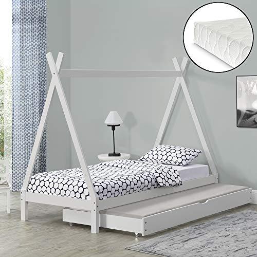 Kinderbed Tipi met onderschuifbed en 1 matras 90x200 cm wit