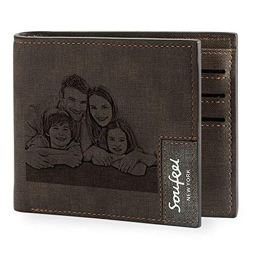 SOUFEEL Cartera Billetera Personalizado de Foto Hombre Plegable Cuero Regalo para Familia Novio