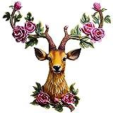 TOPNIU Casa Montaje de pared Escultura Escultura Escultura Escultura Lucky Deer Head Hogar Sala de estar Decoración de la pared Corredor Creativo Retro Simulación Colgante de animales (Color: Gris, Ta