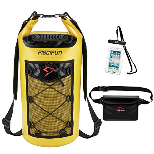 Piscifun Waterproof Dry Bag with Waterproof Waist Pouch and Waterproof Phone Case Floating Dry Backpack for Water Sport - Fishing, Boating, Kayaking, Camping Gifts for Men and Women Yellow 20L