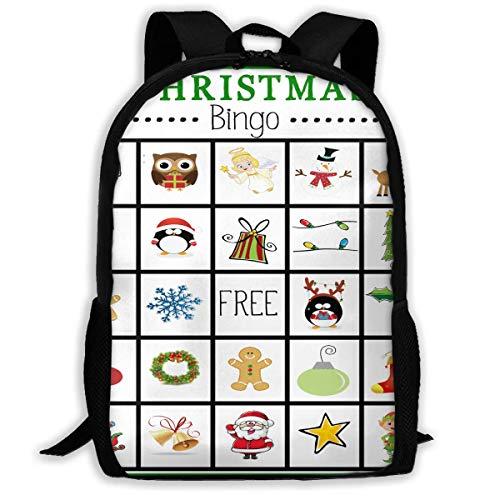 NA Rugzak Voor Meisjes Jongens Kerstmis Bingo Kaarten Rits School Boekentas Dagtas Reizen Rugzak Gym Tas Voor Man Vrouwen