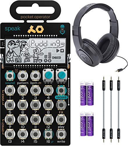 Teenage Engineering PO-35 Pocket Operator Speak Vocal Sampler/Sequencer Bundle with Samson SR350 Over-Ear Closed-Back Headphones, Blucoil 3-Pack of 7' Audio Aux Cables, and 4 AAA Batteries