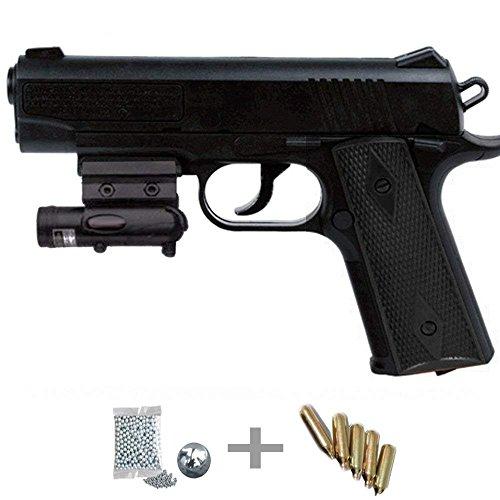 1911 Láser Kit Crosman Pistola de Aire comprimido (CO2) y balines de Acero (perdigones...