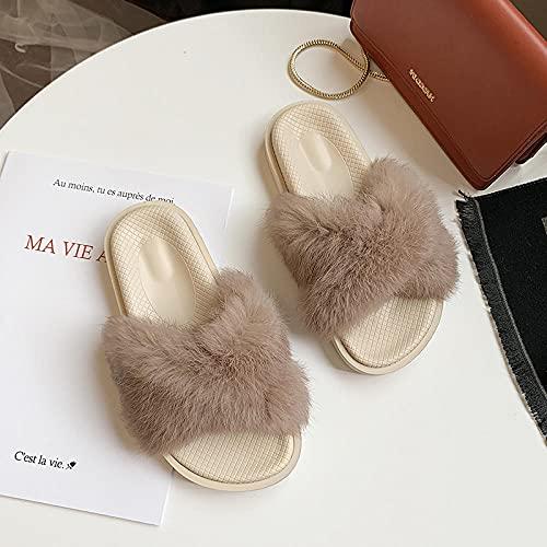 Zapatillas De Casa para Mujer Primavera,Zapatos De Descarga De Mao, Verano De La Mujer 2021 Nuevos, Planos Salvajes, Moda Gruesa, Sandalias Rojas Cruzadas-I 35 (225mm / 8.85')_gramo