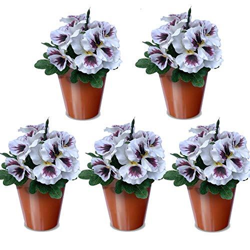 Home & Crafts Künstliche Stiefmütterchen Blumen - 5 Stück Fake Pflanzen für Außen oder Innen - Kunstblumen Dekorationen mit farbbeständiger Farbe (5 Stück - Weiß)