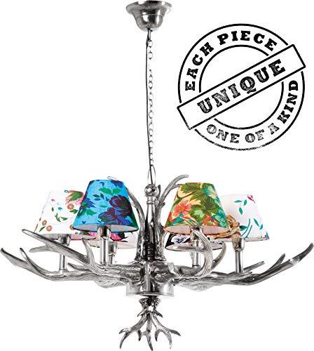 Kare Design Hängeleuchte Antler Flowers, Silber, rustikale Lampe mit Hirschgeweih, ausgefallene Lampenschirme mit Blumenmuster, Design Kronleuchter, (H/B/T) 66x75x75cm, 6er