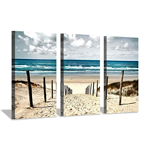 Beach Picture Canvas Wall Art: Sandy Path to Seaside Artwork Prints on Canvas for Bedroom (34'' x 20'' x 3 Panels)