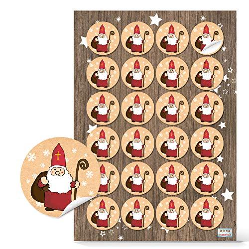 Logbuch-Verlag 24 kleine Nikolaus Aufkleber beige rot weiß - rund 4 cm - Nikolausaufkleber Weihnachtsmann Sticker als Verzierung für Nikolausgeschenke