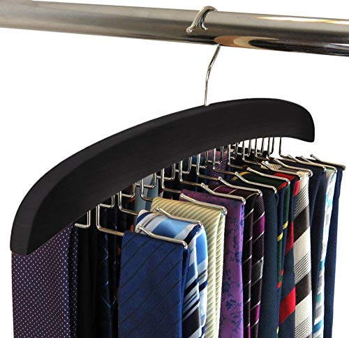 SunTrade Wooden Tie Hanger,24 Tie Organizer Rack Hanger Holder Hook (Black, 24 hooks)