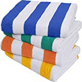 Utopia Towels - Lot de 4 Serviette de Plage en 100% Coton - 76 x 152 cm (Bleu, Jaune, Vert, Orange)