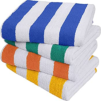 Utopia Towels Cabana Stripe Beach Towel  30 x 60 Inches  - 100% Ring Spun Cotton Large Pool Towels Soft and Quick Dry Swim Towels Variety Pack  Pack of 4   Blue Yellow Green Orange