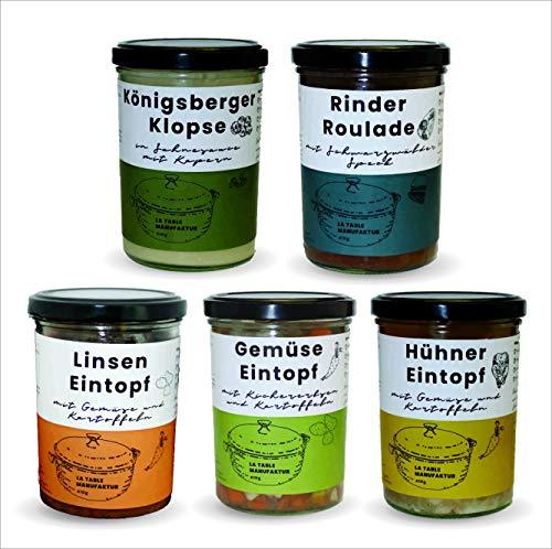 5x 410g Probierset Klassik | Feinkost im Glas | Rinder-Roulade, Rinder-Gulasch, Königsberger Klopse, Gemüse-Eintopf, Linsen-Eintopf | 100% Handarbeit | Ohne Geschmacksverstärker