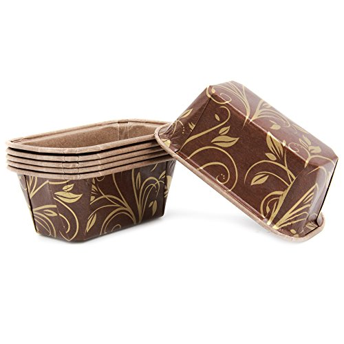 Premium Personal Mini Size Paper Baking Loaf Pan, Perfect for Chocolate Cake, Banana Bread, Brown & Gold, Set of 30 - by EcoBake