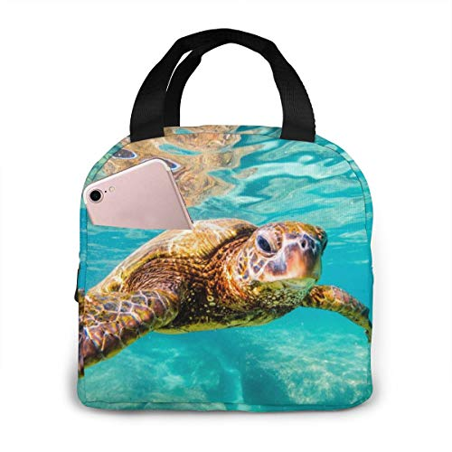 PrelerDIY 3d Sea Turtle Lunch Box Insulated Meal Bag Lunch Bag Reusable Snack Bag Food Container For Boys Girls Men Women School Work Travel Picnic