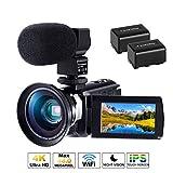 Caméscope 4K Caméra Numérique Ultra HD 1080P 60FPS Micro Camescope CofunKool 48MP avec Vision Nocturne Infrarouge WiFi...