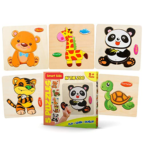 Smart Kids Service - Wooden Puzzles for Toddlers – 5 Pack - Baby Puzzles Age 3+ Toddlers Puzzles for Boys and Girls - in The Zoo Set - Tiger - Panda - Bear - Giraffe - Tortoise - 37 pcs…