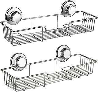 SANNO シャンプーラック シャワーラック 浴室ラック シャンプー置き 壁掛け収納ラック ワイヤーかご お風呂 真空吸着 強力吸盤 2個セット