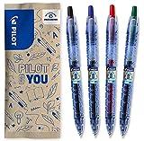 Pilot – Lote de 4 bolígrafos B2P Gel 0.7 – Tinta de gel – Retractable – Fabricado a partir de plástico reciclado – Begreen – Azul, Negro, Rojo, Verde – Punta Mediana