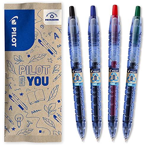 PILOT Bottle 2 Pen Gel 0.7, Gelschreiber, Hergestellt aus recyceltem Kunststoff, 4er Set (Schwarz, Blau, Rot, Grün), mittlere Spitze