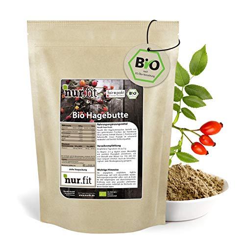 nur.fit by Nurafit BIO Hagebuttenpulver 500g – rein natürliches Hagebuttenmehl in Rohkostqualität aus zertifiziert biologischem Anbau – gemahlene Hagebutte mit hohen Vitamin C Gehalt ohne Zusatzstoffe