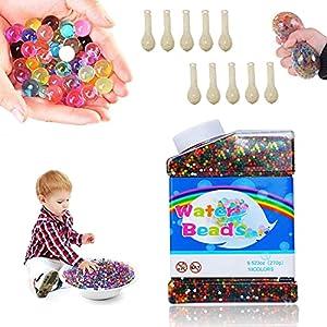 LGZIN Bolas de Gel de Agua, 50000 Piezas Perlas de Agua, Perlas de Agua para niños, con 10 Piezas Globos, para Relleno de Florero Decoración de Plantas de Aqua, Decoraciones del hogar