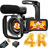4K Video Camera Camcorder with Microphone Ultra HD 30MP YouTube Vlogging Camera 3.0...