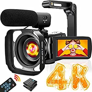 4K Video Camera Camcorder with Microphone Ultra HD 30MP YouTube Vlogging Camera 3.0 Inch Touch Screen 16X Digital Zoom…