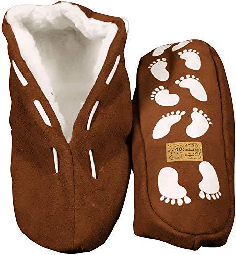 Echtleder / Veloursleder Hausschuhe mit Fell Innenfutter Mokassins Pantoffeln ABS-Stopper ab Gr: 35 (sch44) 45 braun