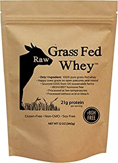 Raw Grass Fed Whey - Happy Healthy Cows, COLD PROCESSED Undenatured 100% Grass Fed Whey Protein Powder, GMO-Free + rBGH Free + Soy Free + Gluten Free + No Added Sugar, Unflavored, Unsweetened (12 OZ)