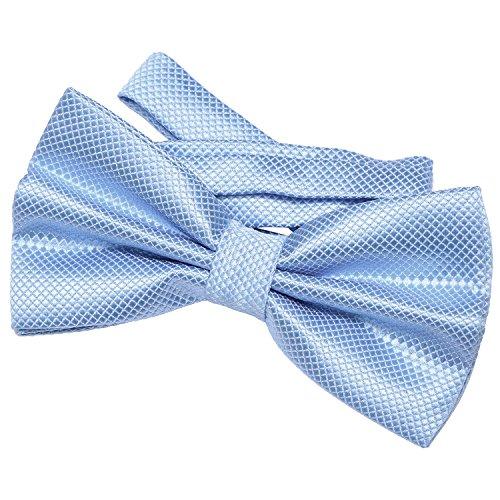 DonDon Herren Fliege 12 x 6 cm gebunden mit Hakenverschluss und größenverstellbar für besondere Anlässe hellblau