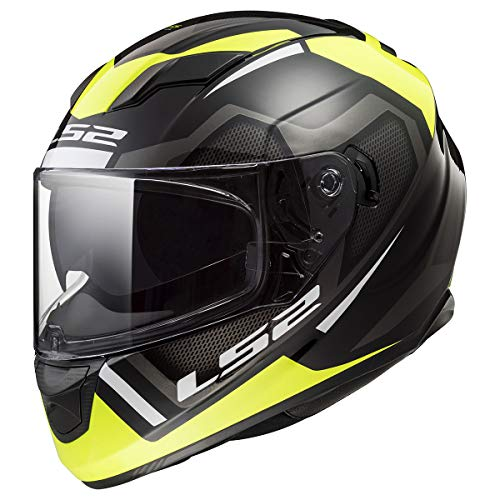 LS2 Helmets Stream Axis Yellow Graphic Unisex-Adult Full-Face-Helmet-Style Motorcycle Helmet (Black, Large)