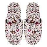 HUGS IDEA Zapatillas de algodón para invierno otoño cálido suave casa plana zapatos para el hotel casero, perro de Navidad patas vaca girasol Santa, Enfermera de dibujos animados, 41/41.5 EU