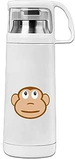 Karen Garden Cute Monkey Face Stainless Steel Vacuum Insulated Water Bottle Leak Proof Handled Mug White,12oz