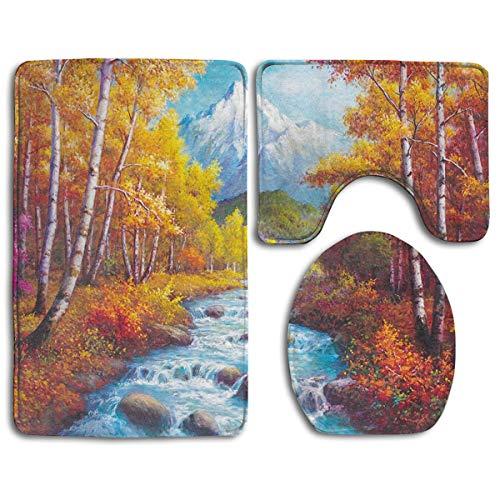 N\A Juego de alfombras de baño de 3 Piezas, alfombras de baño Antideslizantes con Estampado Vintage Woods Creek + Funda de Asiento de Inodoro + Alfombrilla de Contorno