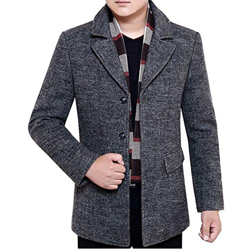 Men's Slim Fit Winter Warm Short Wool Blend Coat Business Jacket with Free Detachable Soft Touch Wool Scarf Grey