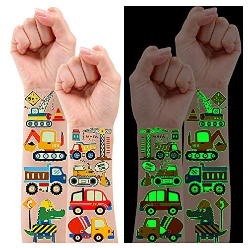 Leesgel Tattoo Kinder Jungen Set, 12 Blätter Leuchtende Aufkleber Kinder Tattoo mit Fahrzeuge Lastwagen Thema für Kindergeburtstag Mitgebsel Liefert Spielzeug Geschenke