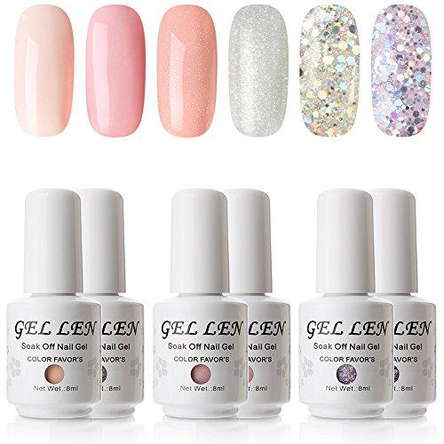 Gellen UV Gel Nail Polish Set - Popular 6 Colors Nail Gel Home Manicure Kit 8ml, Colors Peach Pink and Glitters