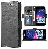 Phone Case for LG Phoenix 3/K8 2017 Folio Flip Wallet Case,PU Leather Credit Card Holder Slots Full Body Protection Phone Cover for LGphoenix3 LGK8 2017 Cases Women Men Black