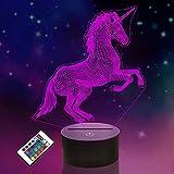 FULLOSUN - L谩mpara LED de proyecci贸n de unicornio 3D, dise帽o de unicornio para...