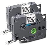 Unismar 2 Pack Compatible TZe-231 TZe231 TZ-231 TZ231 Laminated Tape Black on White 12mm (1/2') Width 8m (26.2ft) Length for Brother P-Touch Label Makers & Printers (US-TZe231 2PK)