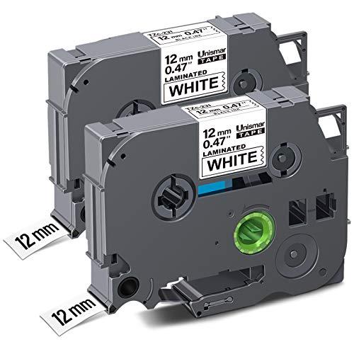 "Unismar 2 Pack Compatible TZe-231 TZe231 TZ-231 TZ231 Laminated Tape Black on White 12mm (1/2"") Width 8m (26.2ft) Length for Brother P-Touch Label Makers & Printers (US-TZe231 2PK)"