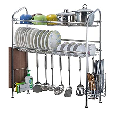 2-Tier Over The Sink Dish Drying Rack, Adjustable Stainless Steel Kitchenware Drainers with Side organizer & Skid-proof Rubber Feet for Kitchen Counter from