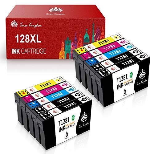 Toner Kingdom T1281 T1282 T1283 T1284 Cartuchos de Epson Tinta compatibles Reemplazo para Epson Stylus S22 SX125/130/230/235W/420W/425W/430W/SX435W/440W/445W, BX305F/FW/FW Plus (Paquete de 10)