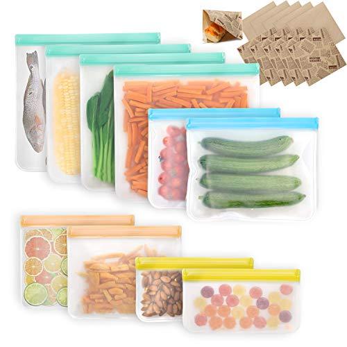 VECELA Bolsas Reutilizables Reutilizable, Bolsas Congelar Bolsa Bocadillo Reutilizable Bolsas Para Congelador De Alimentos ,Contiene 10 bolsas de papel kraft