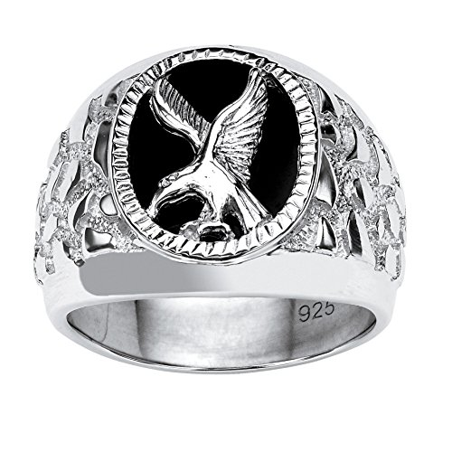 Men's Yellow Gold-Plated or Sterling SilverSterling Silver Oval Shaped Natural Black Onyx Eagle Ring...