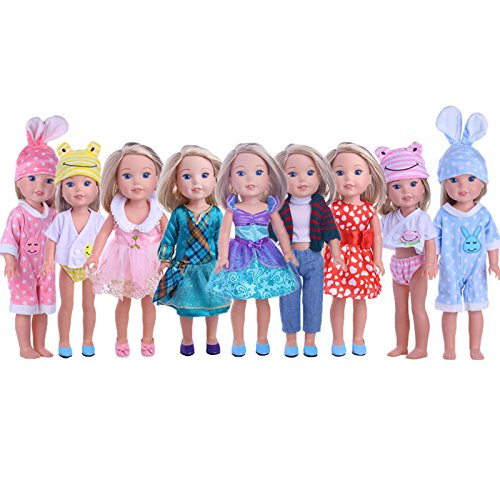 ZWSISU Cute Doll Clothes for American Girl Dolls:- 5sets Clothes for 14.5inch Wellie Wisher Dolls …