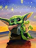 Yoda 5D Diamond Painting Kits,Baby Yoda Round Full Drill Crystal Diamond Arts Paint by Number for Beginer Home Wall Decor 11.8'X15.7'