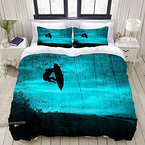 Funda de edredón Beige Reversible Fondo de Surf de Verano Juego de Ropa de Cama Decorativa para Dormitorio de Hotel en casa + 2 Fundas de Almohada C98