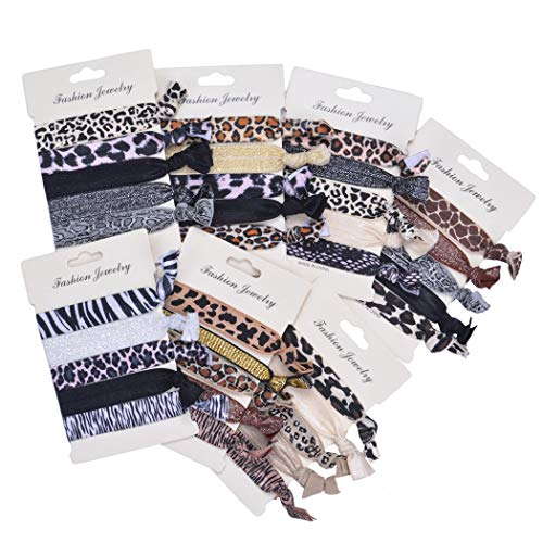 Beauty Wig World 7 Pack Elastic Ribbon Hair Ties Set 35 Pcs Leopard No Crease Ponytail Holder Hair Bands Hair Supplies Colorful Bracelet for Girl and Women Hair Accessories